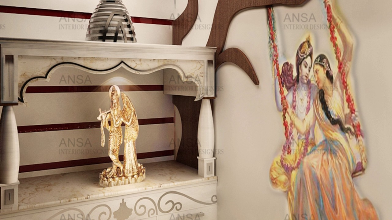 Mandir design for home ansa interior designers youtube for Design of mandir in living room