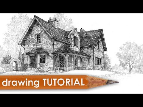 Drawing tutorial - how to draw a cottage house