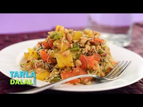 Roasted Capsicum and Alfa-Alfa Sprouts Salad with Peanut Dressing by Tarla Dalal