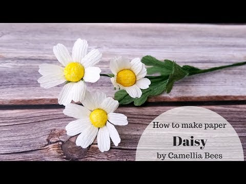 How to make crepe paper Daisy Flowers - Easy tutorial Paper Flower step by step