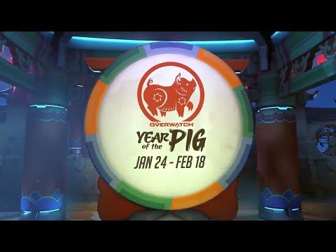 ALL YEAR OF THE PIG SKINS | Chinese New Year 2019 - Overwatch thumbnail