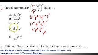 Pembahasan Asli Soal UN/ UNBK Matematika SMA/MA IPS Tahun 2018 (No.1-2)