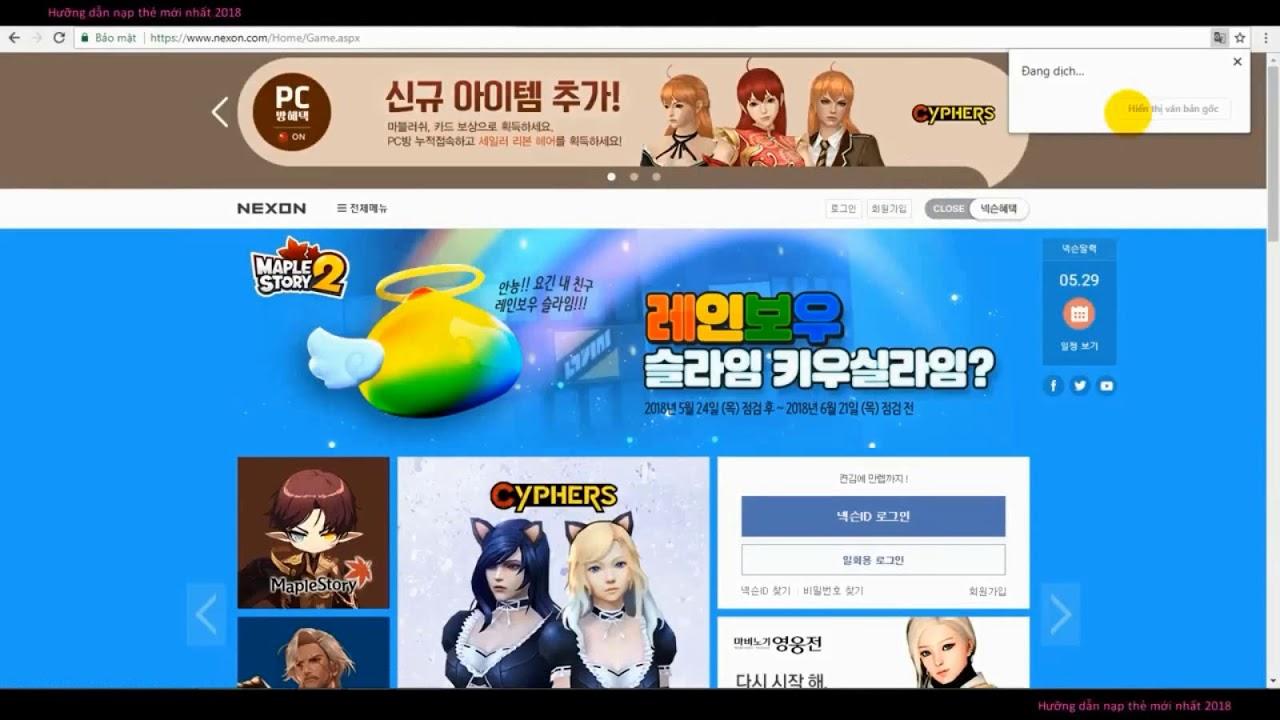 Hướng dẫn nạp thẻ game Crazy Arcade (Boom Online Hàn Quốc) mới nhất 2018