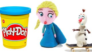 frozen elsa play doh stop motion olaf skateboarding kinder surprise eggs kid toys