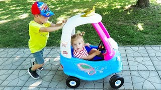 OUTDOOR ACTIVITY - Princess Fairy Little Tikes Cozy COUPE little girl and BROTHER