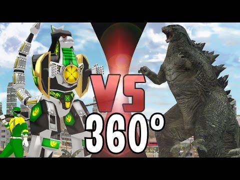 GODZILLA Vs DRAGONZORD (Power Rangers) - 360° Video - DEATH BATTLE!