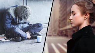 Girl offered the beggar something to eat and he refused  When he recognized her, he was surprised
