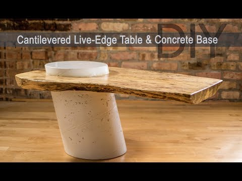 Diy Live Edge Table W White Concrete Base How To Make Youtube