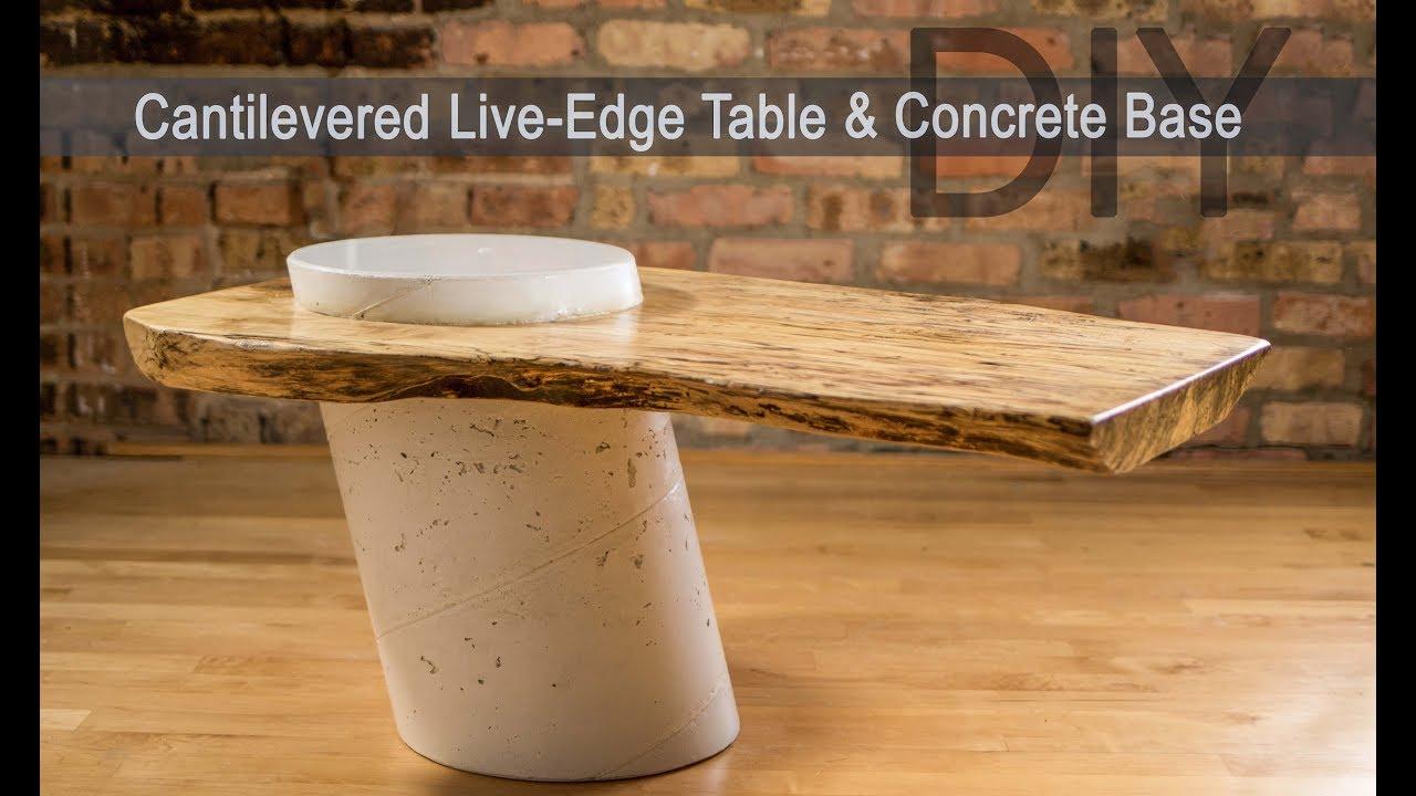 Diy Live Edge Table W White Concrete Base How To Make