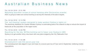 Business News Headlines for 18 Oct 2018 - 1 PM Edition