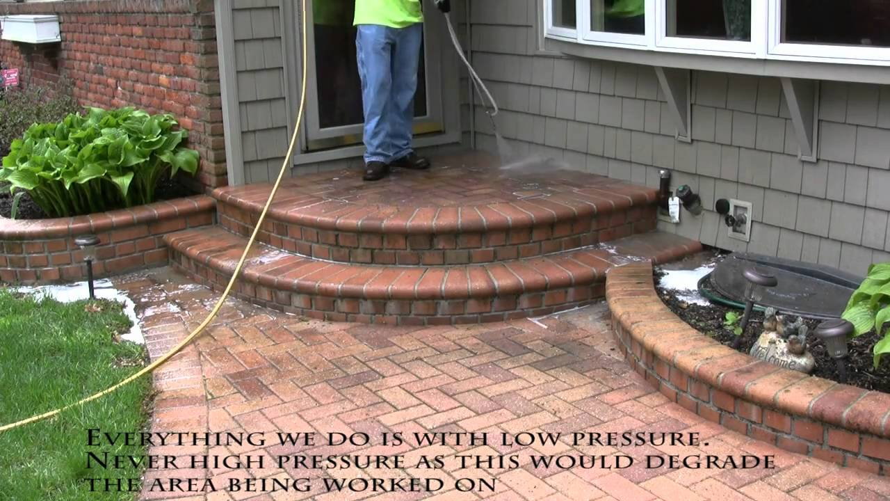 Power Washing Brick Paver Walkway To Remove Dirt