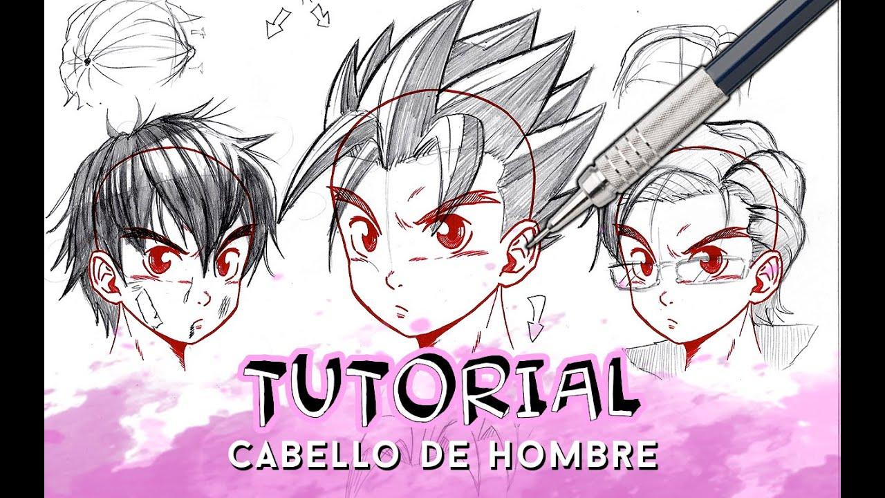 Como Dibujar Pelo Anime Manga De Hombre Paso A Paso Con Brillo Y