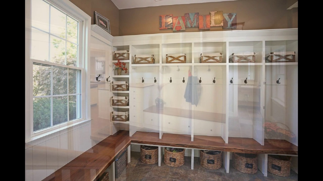 mudroom lockers with bench - YouTube