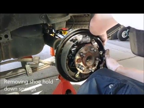 Taa brake shoe removal  replacement  abridged   YouTube