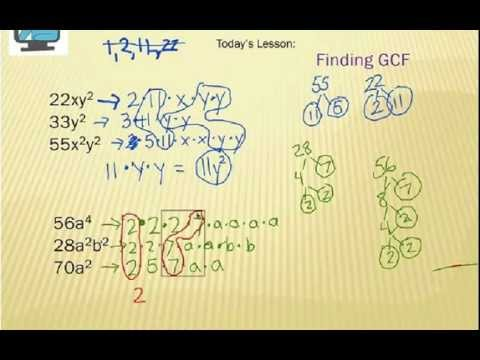 Finding Greatest Common Factor Gcf Algebra Expressions Youtube