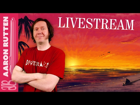 Sunset Beach Landscape Painting - Digital Art Live Stream 2/4/2017