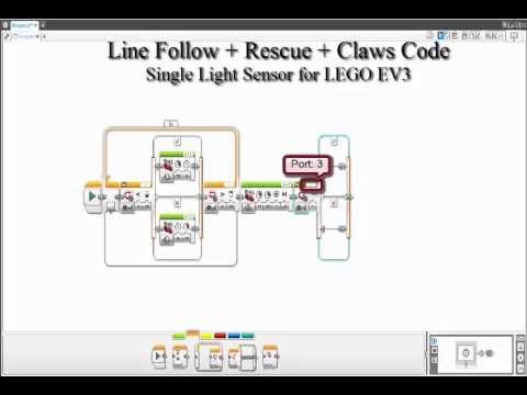 Line Follow + Rescue + Claws Code with Light Sensor for LEGO EV3 ...
