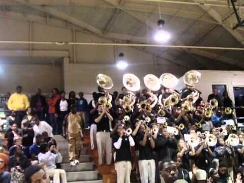 Meridian High School band at the pep rally