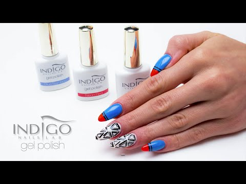Indigo Gel Polish Neon Red + Blue Bamboo - Aztec Design