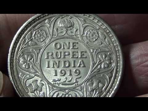 057-Pure Silver One Rupee 15 gm. weight British Indian Coin of 1919.