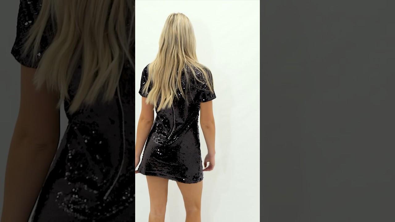 5d361aabe6d8 Annalise Black Sequin T-Shirt Dress