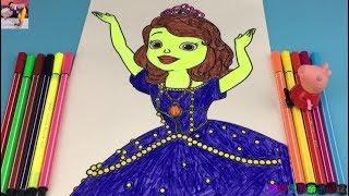 小猪佩奇玩小公主苏菲亚涂颜色亲子玩具