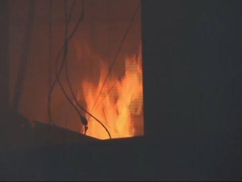 Raw: Massive Fire Engulfs Peru Hardware Shop
