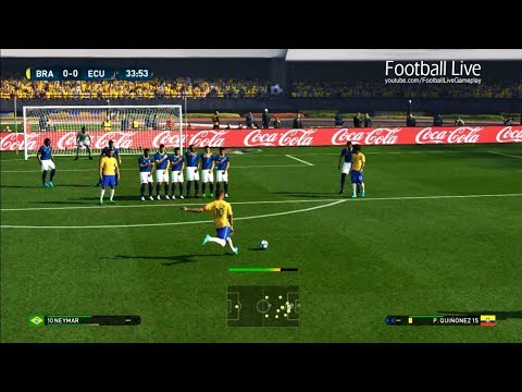 Brazil vs Ecuador | NEYMAR JR free kick Goal & Full Match | PES 2017 Gameplay PC