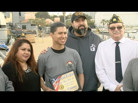 Student who recorded anti-military rant honored onboard battleship