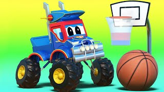 Truck videos for kids -  NBA PLAYOFF : The BASKETBALL accident BREAKS the RACE CAR - Super Truck !