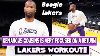 Focused on a strong comeback!! Lakers Demarcus Cousins was the first Laker to Workout