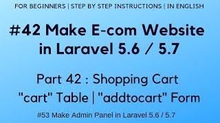 #42 E-com-website in Laravel 5.6 | Warenkorb | ''Warenkorb'' - Tabelle | ''addtocart'' - Form