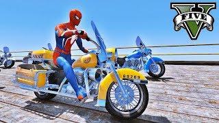 MOTOS na Mega Rampa com Homem Aranha e Heróis! Desafio Saltos na Cidade - GTA V Mods - IR GAMES