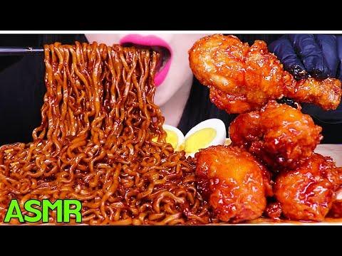 ASMR BLACK BEAN FIRE NOODLES, KOREAN FRIED CHICKEN 짜장 불닭볶음면, 양념 치킨 먹방 (EATING SOUNDS)