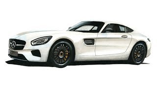Realistic Car Drawing - Mercedes Benz AMG GT S - Time Lapse