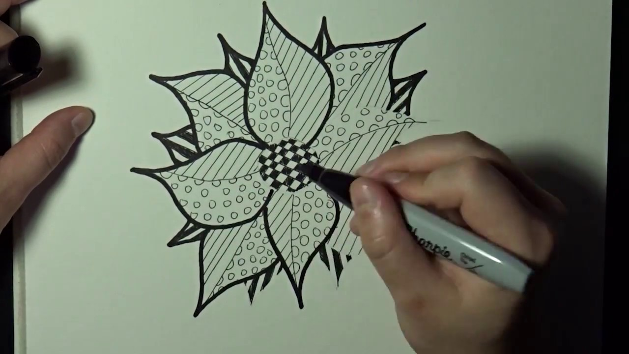 Zentangle Flower Adult Colored Pencils Drawing