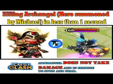 Castle Clash - How To Kill ARCHANGEL (Summoned By Michael) In Less Than 1 Second [F2P Heroes]