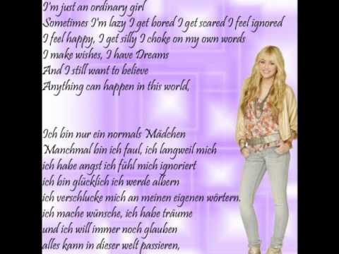 Ordinary Girl-Hannah Montana 4 (with German And English Lyric)