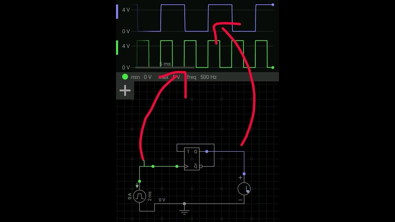 Frequency Division Using T Flipflopsimulation In Mobile Phone Counter Schematic