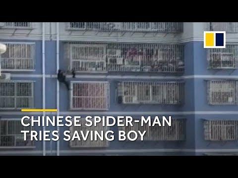 Chinese 'Spider-Man' tries saving boy