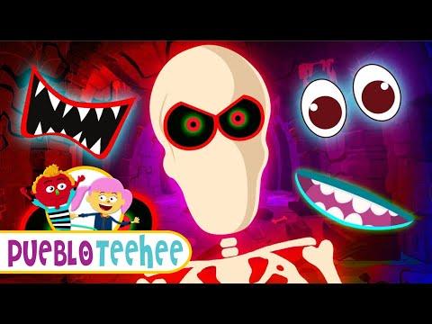 ¡Vamos a Encontrar las Partes de la Cara de un Esqueleto! | Pueblo Teehee