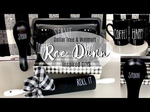 DOLLAR TREE & WALMART RAE DUNN INSPIRED DIYS | MUGS, ROLLING PIN, TRAY| GREAT FOR FALL SEASON