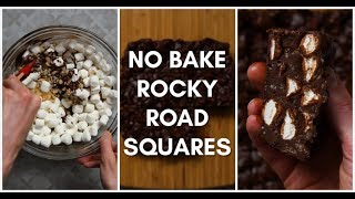 No Bake Rocky Road Squares - Easy Desserts