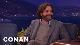 Repeat youtube video Zach Galifianakis' Question He Refused To Ask President Obama  - CONAN on TBS