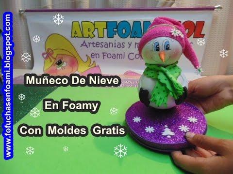 Mu eco de nieve para navidad en foamy con moldes youtube - Munecos de navidad ...