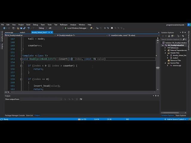 C++ - DYNAMICZNE STRUKTURY DANYCH - LISTA DWUKIERUNKOWA