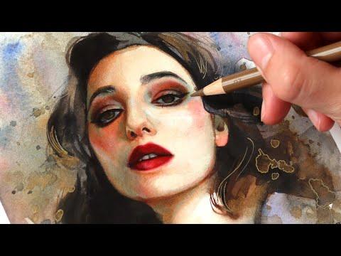 watercolor-+-color-pencils-tutorial-//-i-paint-a-selfportrait!