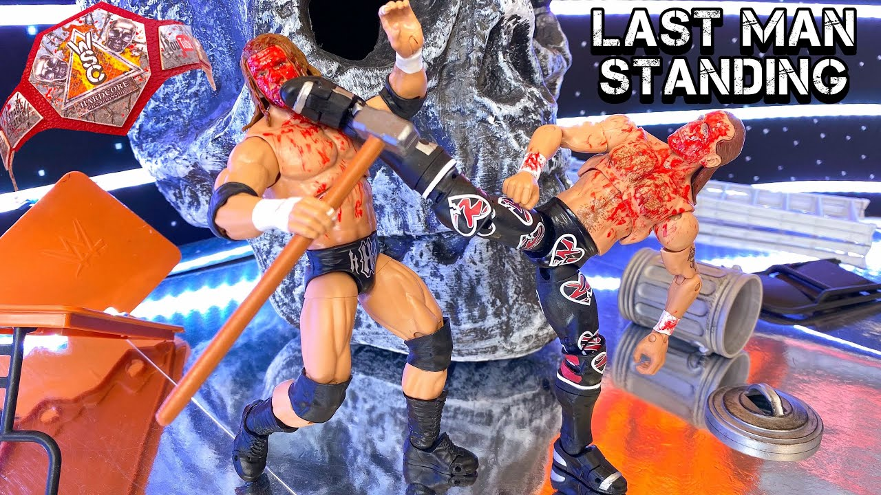 TRIPLE H VS SHAWN MICHAELS LAST MAN STANDING ACTION FIGURE MATCH! HARDCORE CHAMPIONSHIP!