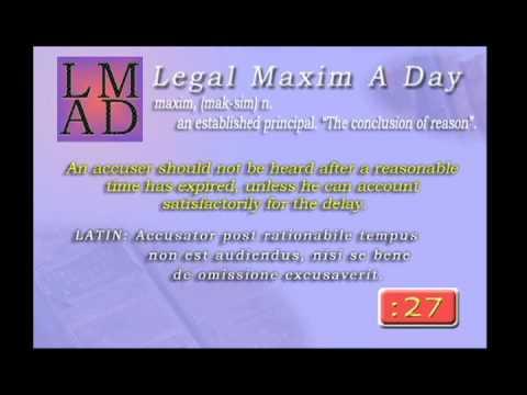 """Legal Maxim A Day - Feb. 16th 2013 - """"An accuser should not be heard....."""""""