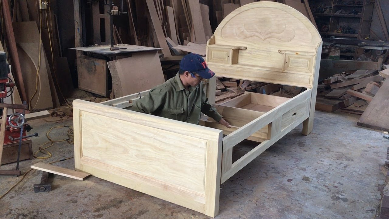 Https://youtu.be/diwrhfyhixo Amazing Skill Carpenter Woodworking Asia Build Single Bed With Storage Drawers How To Diy